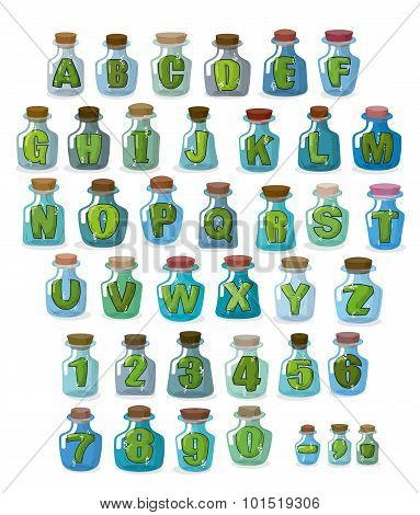 Magic Font. Green Letters In  Magical Flasks. Alphabet Jar For Witchcraft.