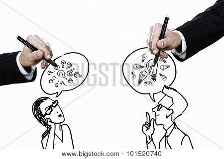Close up of hand drawing dialogue between two on white background
