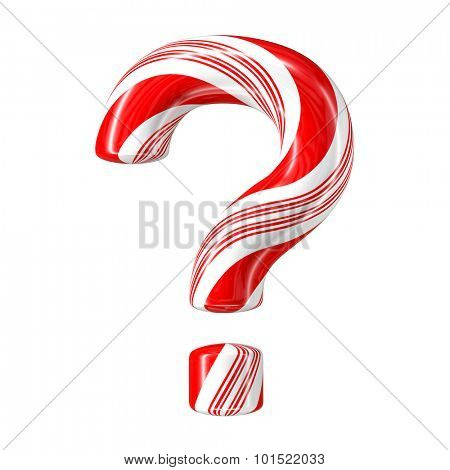 Mint hard candy cane 3d letter collection striped in Christmas colours. Question mark.
