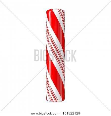 Mint hard candy cane 3d alphabet collection striped in Christmas colours. Letter I.