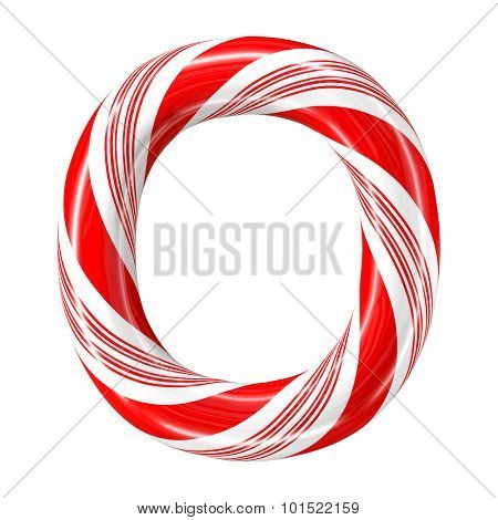 Mint hard candy cane 3d alphabet collection striped in Christmas colours. Letter O.