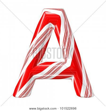 Mint hard candy cane 3d alphabet collection striped in Christmas colours. Letter A.