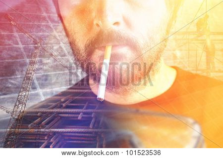 Construction Worker With Cigarette