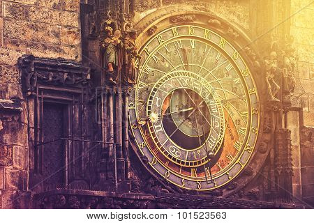 Astronomical Clock On Prague Old Town Square