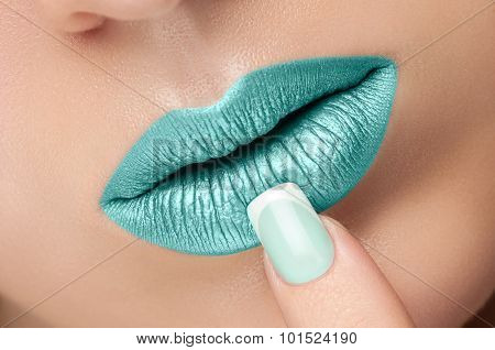 Lips Close-up And Manicure.