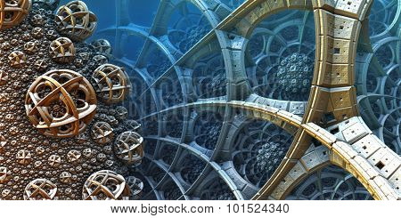 Abstract background, fantastic 3D  structures, fractal design.