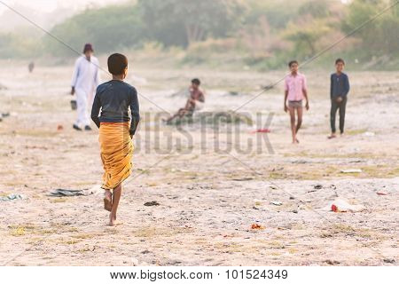 Group of indian boys playing.