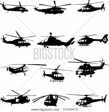 collection of helicopter vector