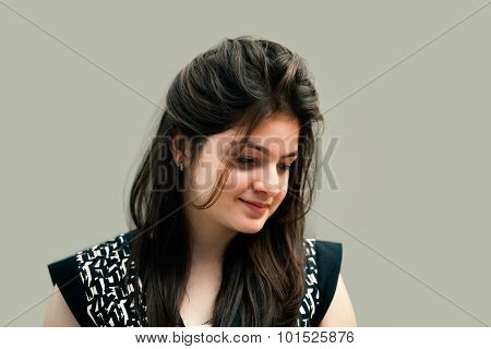 Portrait of a shy indian young woman.
