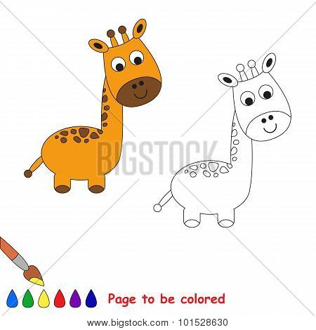 One cartoon giraffe to be colored.