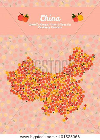 China map poster or card. Peach illustration. Vegetarian postcard.