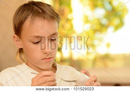 Young boy is feeling unwell