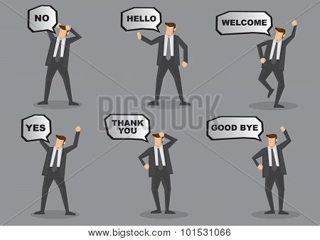 Business Executive With Speech Balloon Vector Character Set