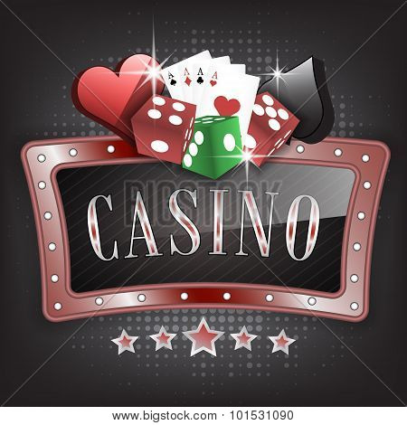 Casino vector illustration with ornate frame, card symbols, playing cards and dice.
