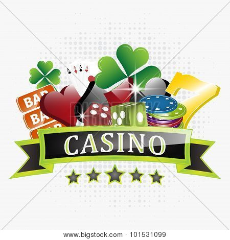 Casino vector illustration with chips, card symbols, playing cards, dice and lucky seven symbol