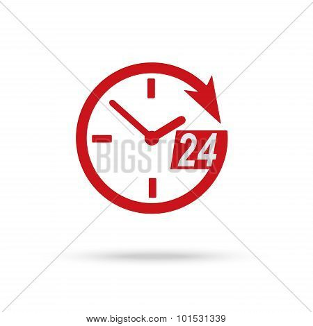 Red Clock Icon Of 24 Hour Assistance