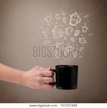 Coffee mug with hand drawn kitchen accessories, close up