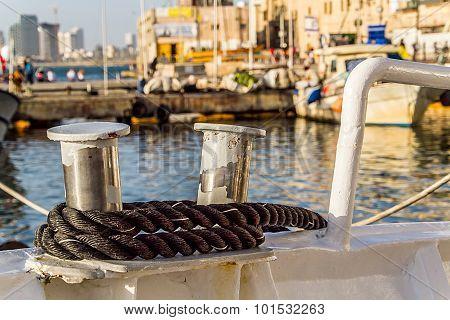 Bollard on a boat