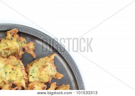 Fried courgette cakes.