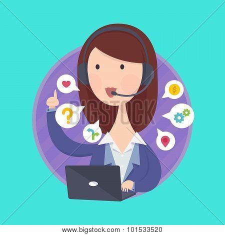 Customer support help desk woman operator service.