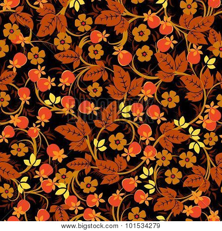The Traditional Russian Floral Seamless Pattern On Black Background