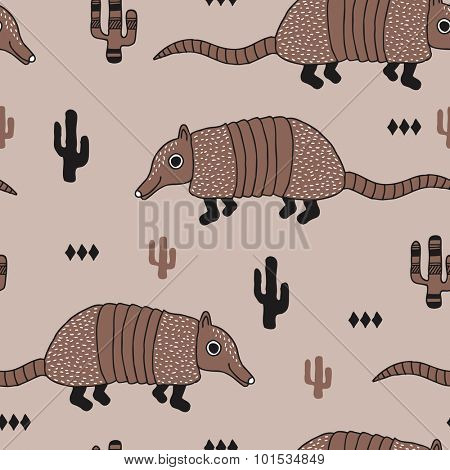 Seamless armadillo wildlife animals illustration with cactus and geometric abstract details desert background pattern in vector