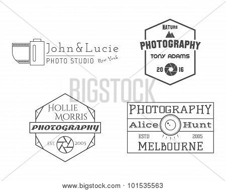Photographer Badges and Labels in Vintage Style. Simple Line design. Retro theme for photo studio, p