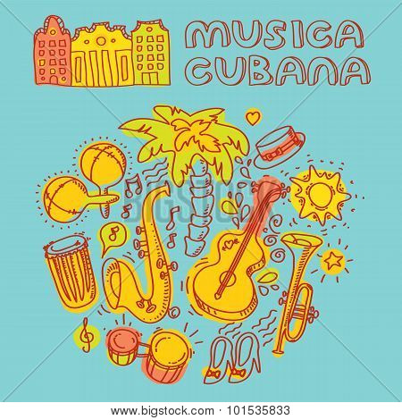 Salsa cuban music and dance illustration with musical instruments, palms, etc.