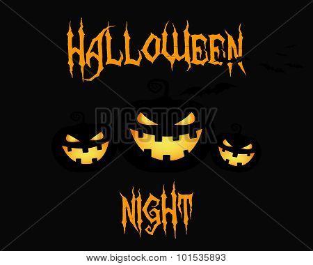 Happy Halloween party night card. halloween pumpkin, dark design. Background, poster and banner. Fla