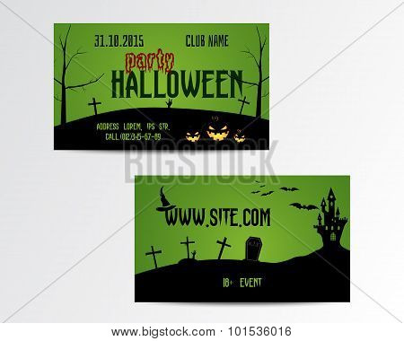 Happy Halloween Greeting Card. Vector Illustration. Party Invitation Design with Emblem and website.