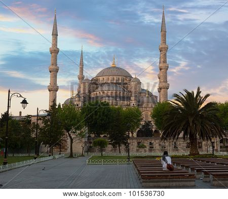 Girl Sitting On A Bench Looks At The Blue Mosque Lit With A Sunrise