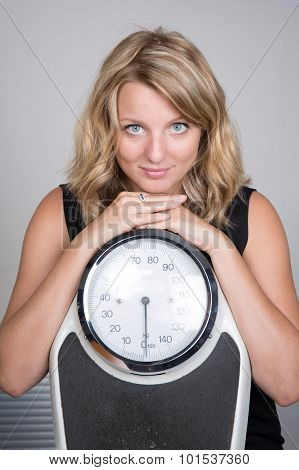 Closeup Shot, Woman Carrying Weighing Machine