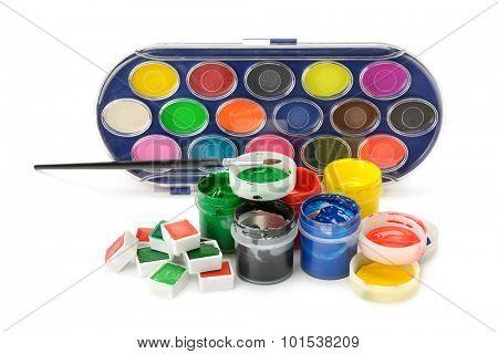 Set of paints isolated on white background