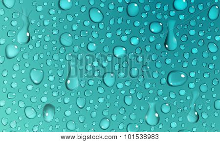 Turquoise Background Of Water Drops