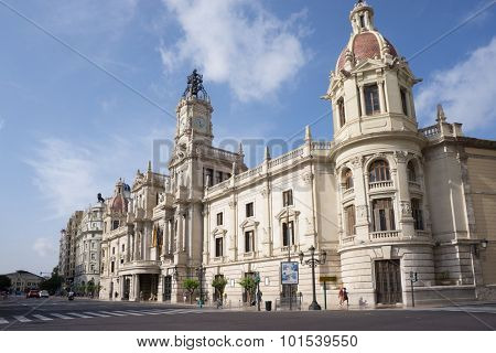 VALENCIA, SPAIN - SEPTEMBER 12, 2015:  View of Placa del Ajuntament - the city hall  of Valencia. Valencia is the capital of the autonomous community of Valencia and the third largest city in Spain.