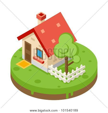 House Building Private Property Tree Icon Real Estate Symbol Meadow Background Flat Design Vector Il