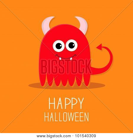 Cute Red Evil Monster With Horns And Fangs. Happy Halloween Card. Flat Design Orange Background