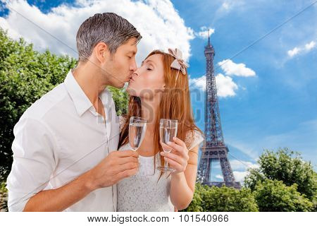 boyfriend and girlfriend with glas on valentine in france