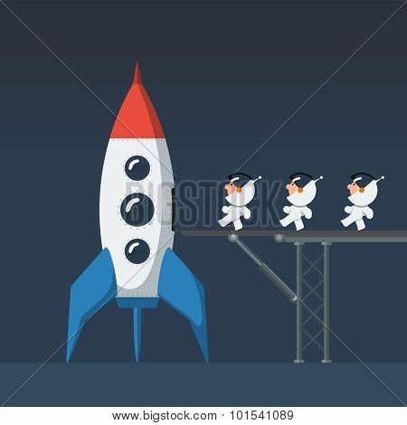 Three small funny astronaut on metal bridge loaded into the spaceship