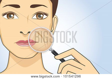 Woman magnifying wrinkle on cheek