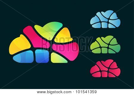 Abstract net cloud vector logo