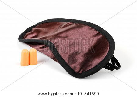 Sleeping Mask And Earplugs Isolated On White, Insomnia Concept
