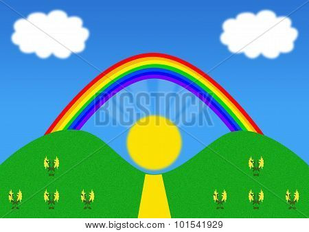 Hills Landscape With Rainbow And Sun