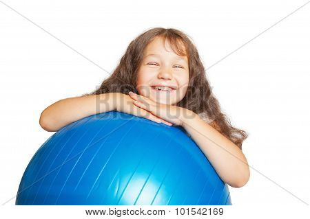 Happy Little Girl With Big Fitness Ball.