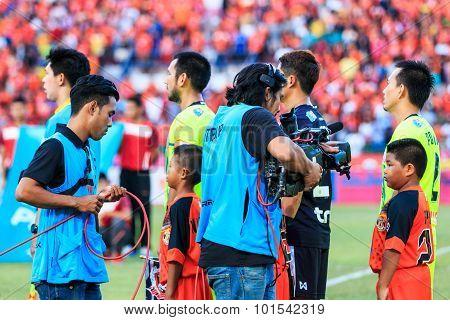Sisaket Thailand-september 12: Cameraman During Thai Premier League Match Between Sisaket Fc And Sup