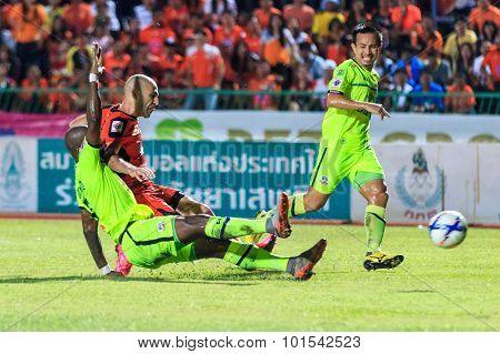 Sisaket Thailand-september 12: Mohsen Bayatinia Of Sisaket Fc. (orange) In Action During Thai Premie