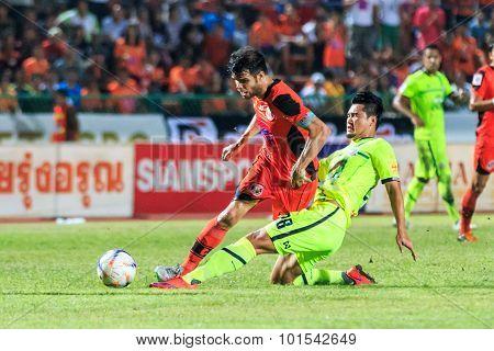 Sisaket Thailand-september 12: Victor Amaro Of Sisaket Fc. (orange) In Action During Thai Premier Le