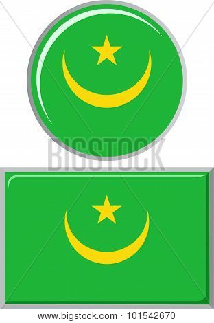 Mauritanian round and square icon flag. Vector illustration.
