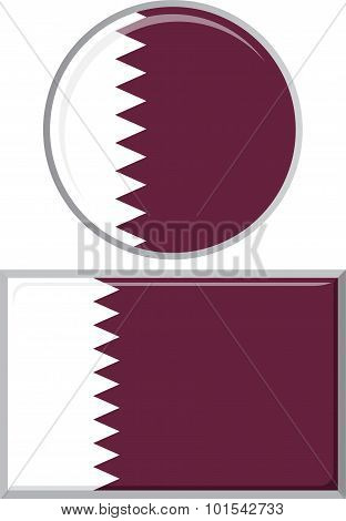 Qatari round and square icon flag. Vector illustration.