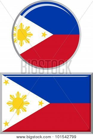 Philippines round and square icon flag. Vector illustration.